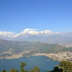 Pokhara City with Phewa Lake and Mountains