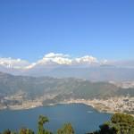 Pokhara City with Phewa Lake and Mountains